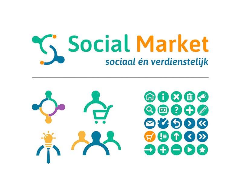 Social Market illustraties en icons