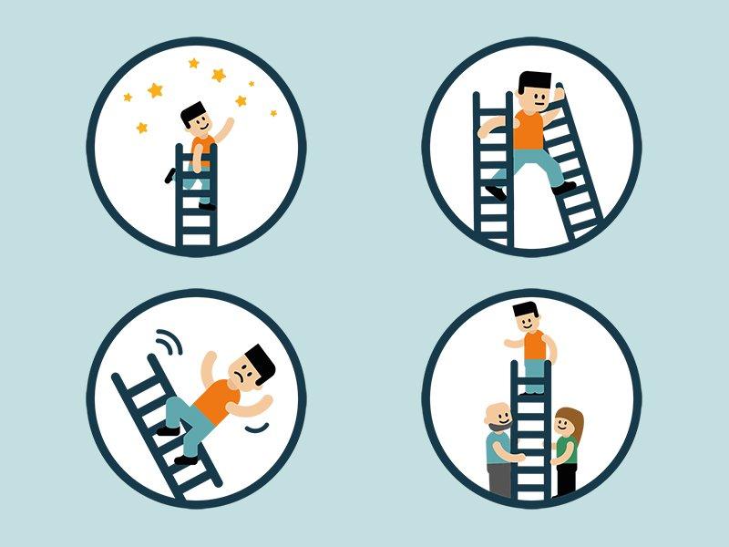 Week van de werkstress 2020 Blijf in balans illustraties